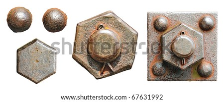 Set of screw-bolts of isolated on a white background