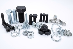 Set of screws of different types, allen, grade 5, hexagonal millimeter, eye bolts, washers, dowel, car screw, clamps