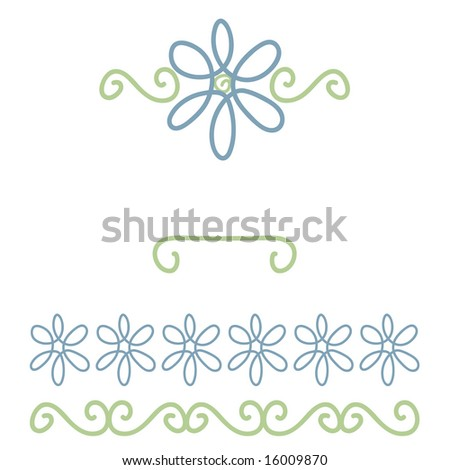 scroll and flower scrapbook elements; borders and frame - stock photo ...