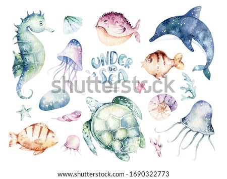 Set of sea animals. Blue watercolor ocean fish, turtle, whale and coral. Shell aquarium background. Nautical dolphin marine illustration, jellyfish, starfish