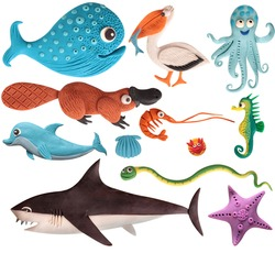 set of sea animals, killer whale, seahorse, starfish, on a white background, sculpted from plasticine