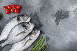 Set of seabream or Gilt head bream orata fish with herbs pepper lime tomato for cooking and grill on grey textured background, top view with space for text