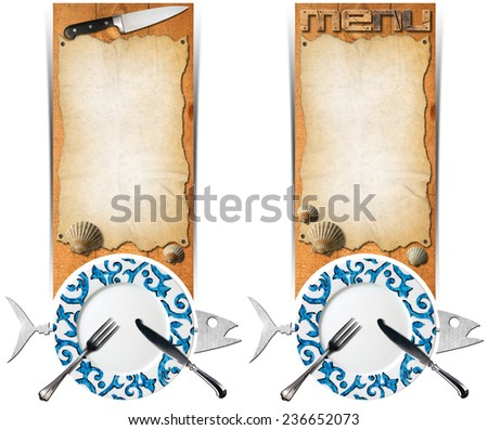 Set of Seafood Banners / Two vertical banners with metal fish, empty decorated plate, silver cutlery, empty parchment on wooden background with kitchen knife and seashells. Template for seafood