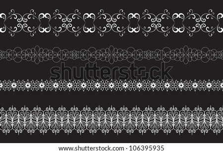 Set of seamless lacy borders isolated on black. Vector version available in my portfolio