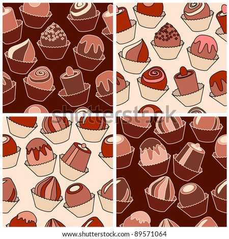 Set of seamless patterns with different chocolate sweets. Raster version.