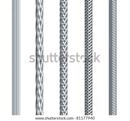 set of seamless steel cable, isolated 3d render - stock photo