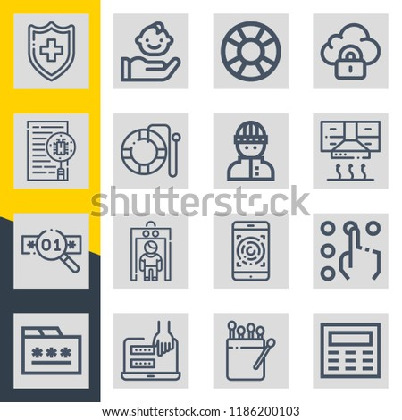 Set of 16 security outline icons such as lifesaver, matches, shield, metal detector, hood, folder, malware, fingerprints, password, security, burglar, keypad, access #1186200103