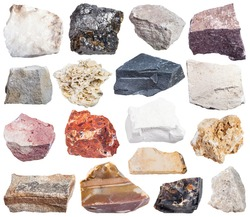 set of sedimentary rock specimens - shale, conglomerate, argillite, mudstone, travertine, limestone, tufa, arenite, sandstone, coquina, bauxite, marl, dolomite, coal, flint, anhydrite, etc, isolated