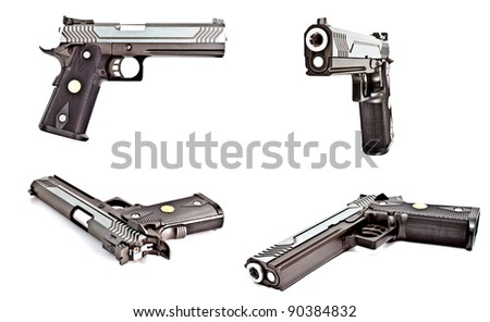 set of .45 semi automatic handgun isolated on white background, studio shot