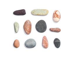 Set of shingle rocks isolated on white background