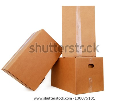 set of shipping carton boxes