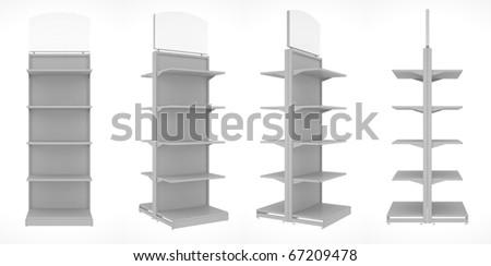 set of shop shelves isolated on white background