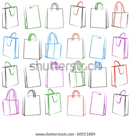 Set of 30 shopping bags. Vector version available in my gallery.