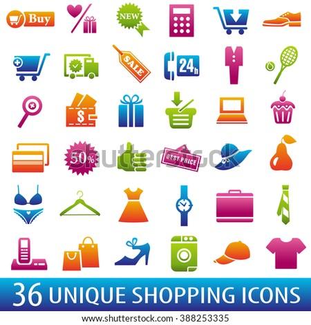 Set of 36 shopping icons. Shopping icons llustration. Shopping icons jpeg