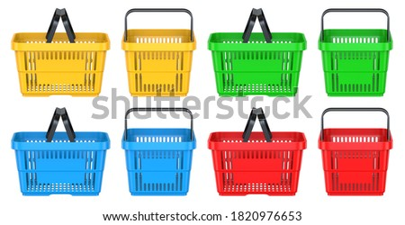 Set of Side and Frot views of a Yellow, Green, Blue, Red empty customer plastic shopping basket. 3d rendering illustration isolated on white background. Foto stock ©