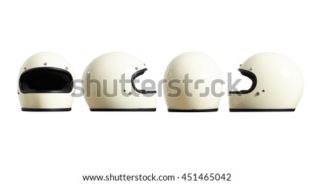 Set of sides of motorbike helmet fomr all sides isolated on white easy to cut out and redesign