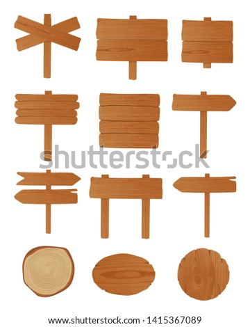 Set of signboards, guideboards and billboards made of unhewn wooden planks nailed together. Bundle of empty signposts isolated on white background. Cartoon design elements. illustration.