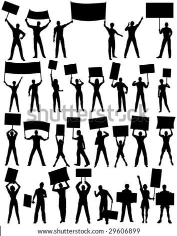 Set of silhouettes of protesters and banners. Editable vector file (.eps) also available.