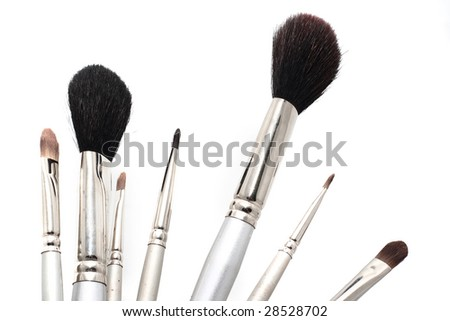 Set of silver cosmetic brushes