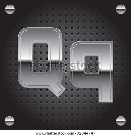 Set of silver metal font on metallic perforated background - letter Q - raster version