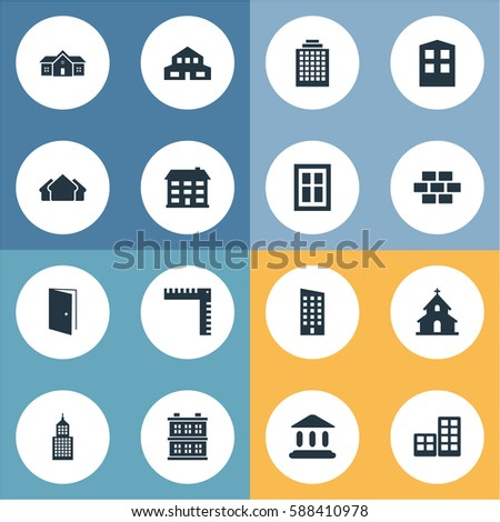 Set Of 16 Simple Architecture Icons. Can Be Found Such Elements As Booth, Offices, Stone And Other.