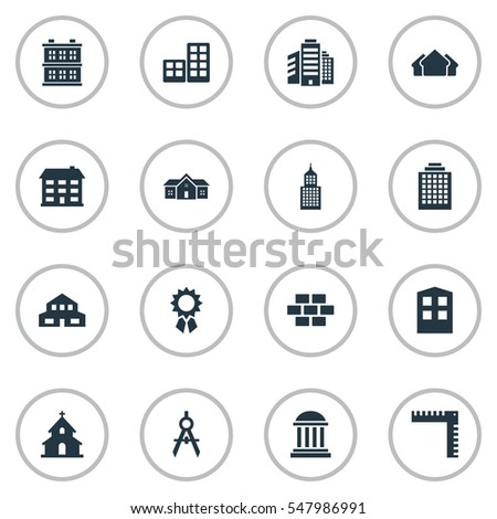 Set Of 16 Simple Architecture Icons. Can Be Found Such Elements As Superstructure, Residence, Popish And Other.