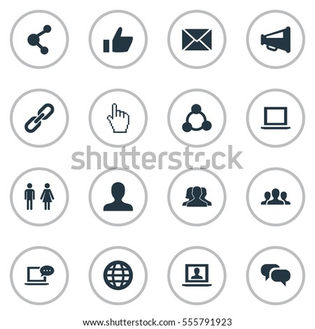Set Of 16 Simple Social Icons. Can Be Found Such Elements As New Mail, Notebook, Web And Other.