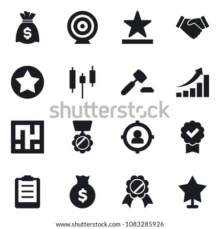 Set of simple vector isolated icons handshake vector, medal, money bag, star label, certificate, auction, clipboard, japanese candle, target, maze, audience, growth graph - Shutterstock ID 1083285926