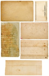 Set of six antique paper scraps isolated on white. Several pieces are empty with room for text or images.