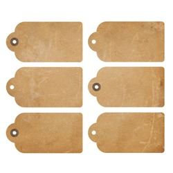Set of six brown grunge gift tags isolated on white