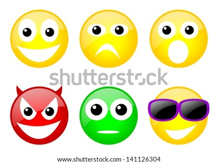 set of six color emoticons with face