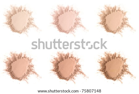 Set of six different skin tone powder samples