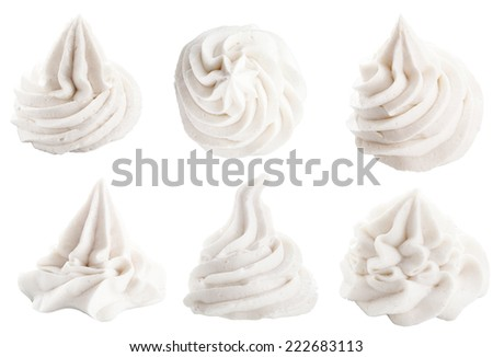 Set of six different white decorative swirling toppings for dessert isolated on white depicting whipped cream, ice cream or frozen yogurt ストックフォト ©
