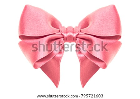 Pink gift bow ribbon, diagonal, isolated white background
