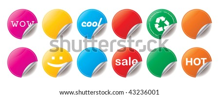 Set of six shiny peeling stickers in bright colours - stock photo