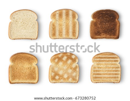 Set of six slices toast bread isolated on white background #673280752