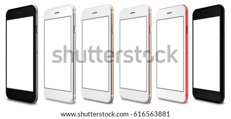 Set of six smartphones red, gold, rose, silver, black and black polished - blank screen and isolated on white background. 3d rendering.
