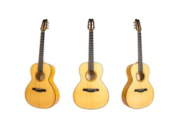 set of six strings acoustic wooden guitars isolated on white background. guitar shape