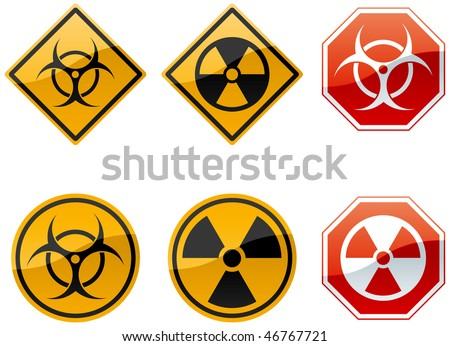 set of six warning signs, biohazard and nuclear