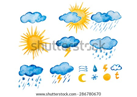 Set of sixteen high quality watercolor raster weather icons. Rain, storm, sun, cloud, thunder, moon, temperature, wind, snow and slush.