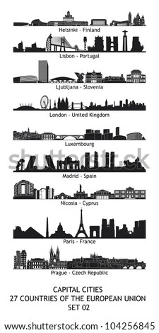 Set of 27 skylines of the capital cities of the european union - set 02