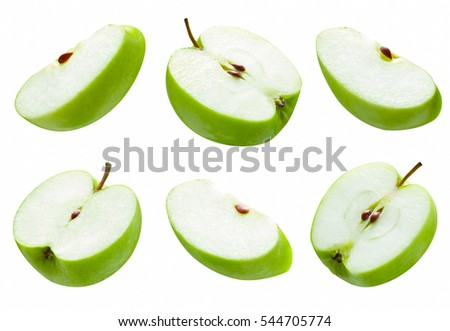 set of slice green apple on white background