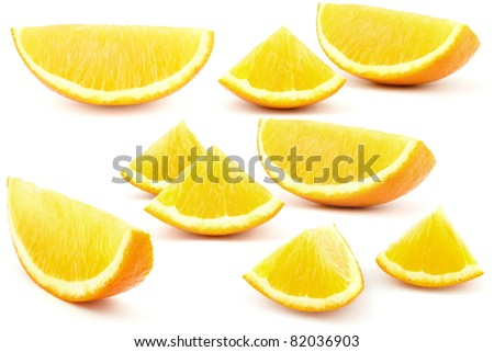 set of sliced oranges isolated on white