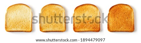 Set of sliced Toast Bread slices isolated on white background, top view