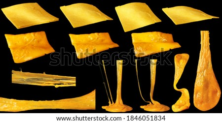Set of slices of cheddar cheese isolated. Hot stretching cheese. Foto stock ©