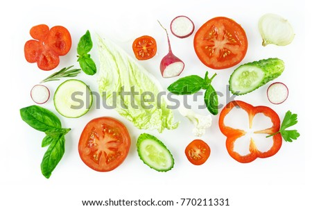 Shutterstock Set of slices of vegetables isolated on white background top view, design for vegetable menu. Tomat, onion, cucumber sweet pepper zucchini Peking cabbage cauliflower radish basil.