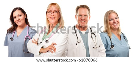 Set of Smiling Male and Female Doctors or Nurses Isolated on a White Background.