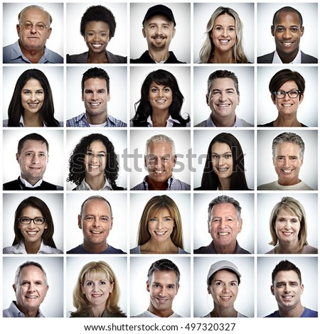 Set of smiling people face. #497320327