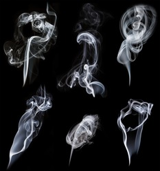 set of smokes on black background