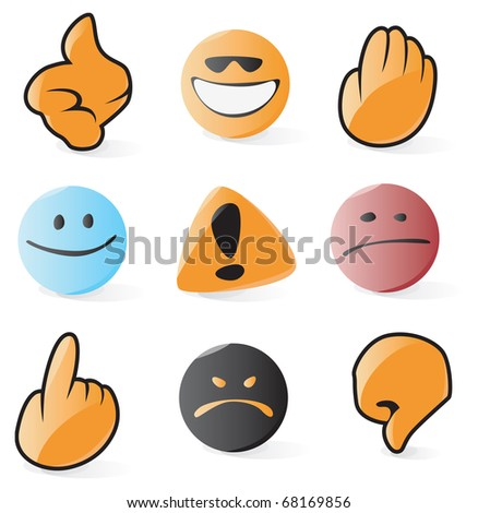 Set of smooth and glossy emoticon and cursor icons. Raster version. Vector version is also available.